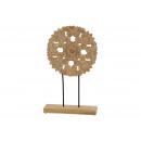 Espositore fiore su mango in legno marrone (