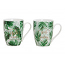 Mug Tropical leaves with sayings Hello summer, p