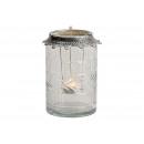Lanterna in vetro / metallo con portalume in M