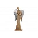 Espositore angeli in legno di mango con ali in met