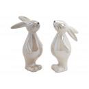 Gray ceramic rabbit, white 2- times assorted , (B
