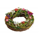 Wreath with butterfly, flowers of colorful wood (B