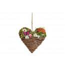 Cuore appendiabiti con farfalla, fiori colorati (B