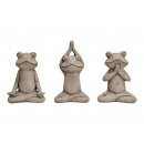 Yoga frog made of cement Brown 3- times assorted ,