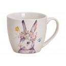 Mug Bunny Decor Porcelain Colorful (B / H / D) 13x