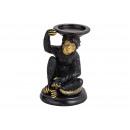 Portacandela scimmia in poly nero (B / H / D) 13x2