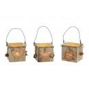 Lanterna Albero / Star / Cuore di legno / vetro, 3