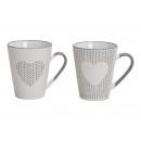 Mug coeur avec décor en grès blanc, gris, 2 plis