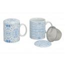 Té en porcelana azul con tapa Met