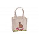Tasche Hase Dekor mit Henkel aus Textil Beige (B/H