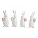Coniglio con uovo di Pasqua in ceramica bianca 4-