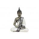 Buddha seduta in bianco / poly argento, B20 x T10