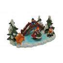 tempo di Natale con pattinatori sullo stagno di po
