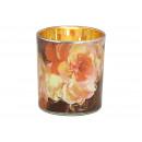 Decorazione floreale in vetro Tealight in vetro or