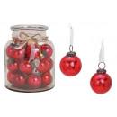groothandel Woondecoratie: Hangende bal glas rood (B / H / D) 5x5x5cm 24 stks