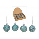 Christmas ball glitter made of glass turquoise, si