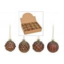 Christmas ball glitter glass brown, gold 4-fac
