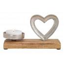 Portacandele in metallo cuore, legno di mango arge