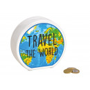 wholesale Saving Boxes: Money box Travel the world ceramic blue (B / H / D
