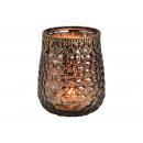 Lanterna con bordo in metallo di vetro nero (B / H