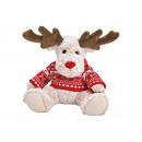 wholesale Toys: Elk plush beige, red knit sweater (B / H / D