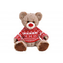 wholesale Dolls &Plush: Bear plush brown, red knit sweater (B / H / T)