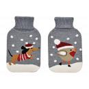 Wärmflasche Weihnachtshund, Vogel Strickbezug 2L a