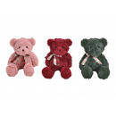 wholesale Dolls &Plush: Bear in plush pink / pink, green, red sort 3-fold