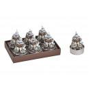 Tealight szett bagoly 4x5 cm-es viasz-ezüst készle
