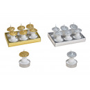 Tealight set fungo 4x6cm in cera d'argento, or