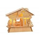 Presepe con illuminazione in legno (B / H / D) 21x