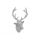 Deer head to hang from poly silver (B / H / T) 30x