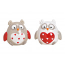 Owl Heart Ceramic Decor Colorful 2- times assorted