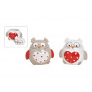 Dose Owl Heart decor ceramic Multi-colored 2-fold