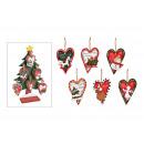 Kersthanger hart Kerst motief 48 stuks