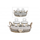 wholesale Drinking Glasses: Storage box set in wicker basket made of glass tra