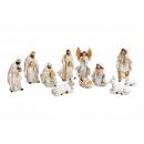 Kerststal set van poly antieke witte set van 11, (