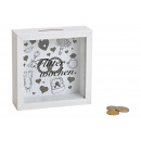 wholesale Gifts & Stationery: Money Box Bauble Wood, Glass White (B / H / D