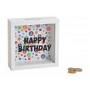 salvadanaio Happy Birthday in legno, vetro bianco