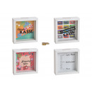 Money box sayings made of wood, glass colorful 4-f