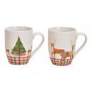 Kubek jeleń Motyw świąteczny w porcelanie Biały 2