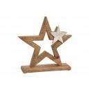 Espositore Stella in legno di mango con stella in