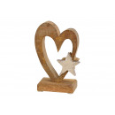 Display heart with metal star wood decor Br