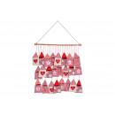 Adventskalender Haus Tasche 9x15cm aus Textil, Hol