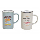 Mug Coffee Time in porcelain gray, gold 2-fold