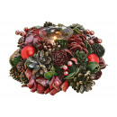 Wind light Christmas wreath, 1 glass lantern,