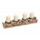 Kerzenhalter Adventsgesteck aus Holz, Metall Natur