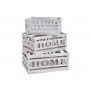 Set cassa di legno HOME White Set di 3, (B / H / D