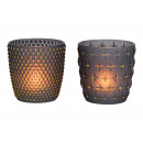 Glass lantern gray, gold glitter 2-fold sorti