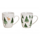 Christmas mug, fir tree moose from porcelain